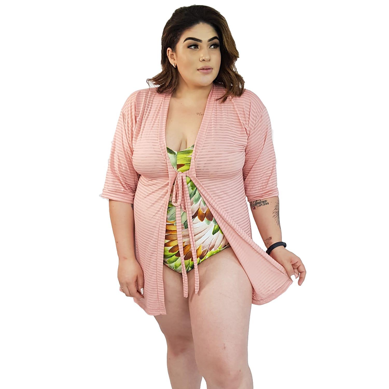 Saída de Praia Plus Size Kimono Sensi com Mangas 7/8 Bege