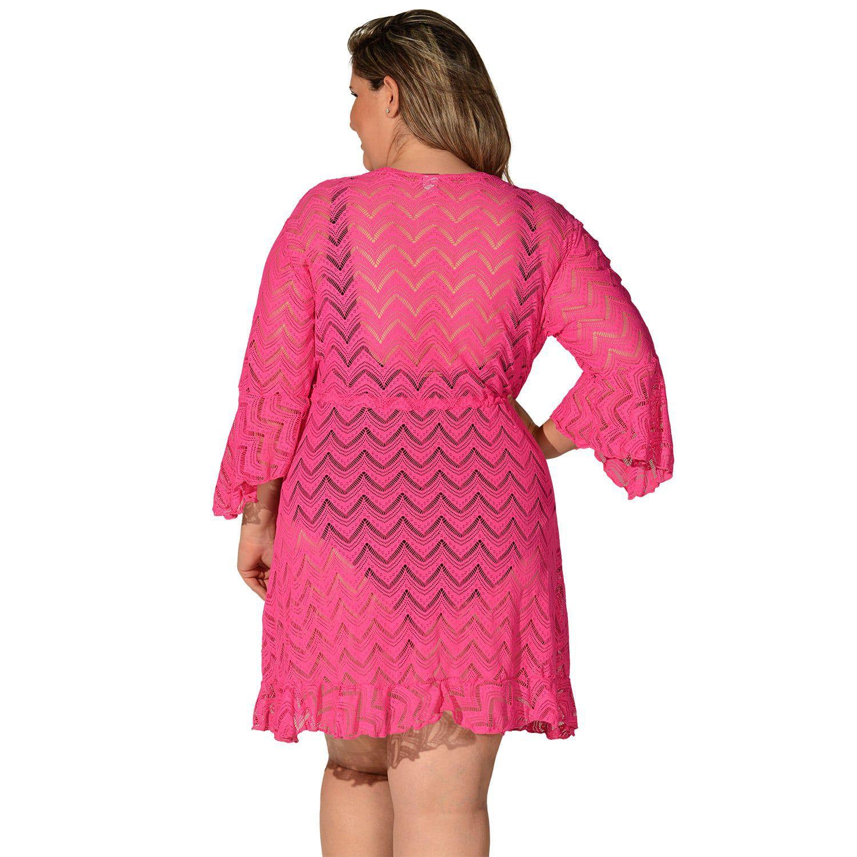 Saída de Praia Plus Size Renda Pink