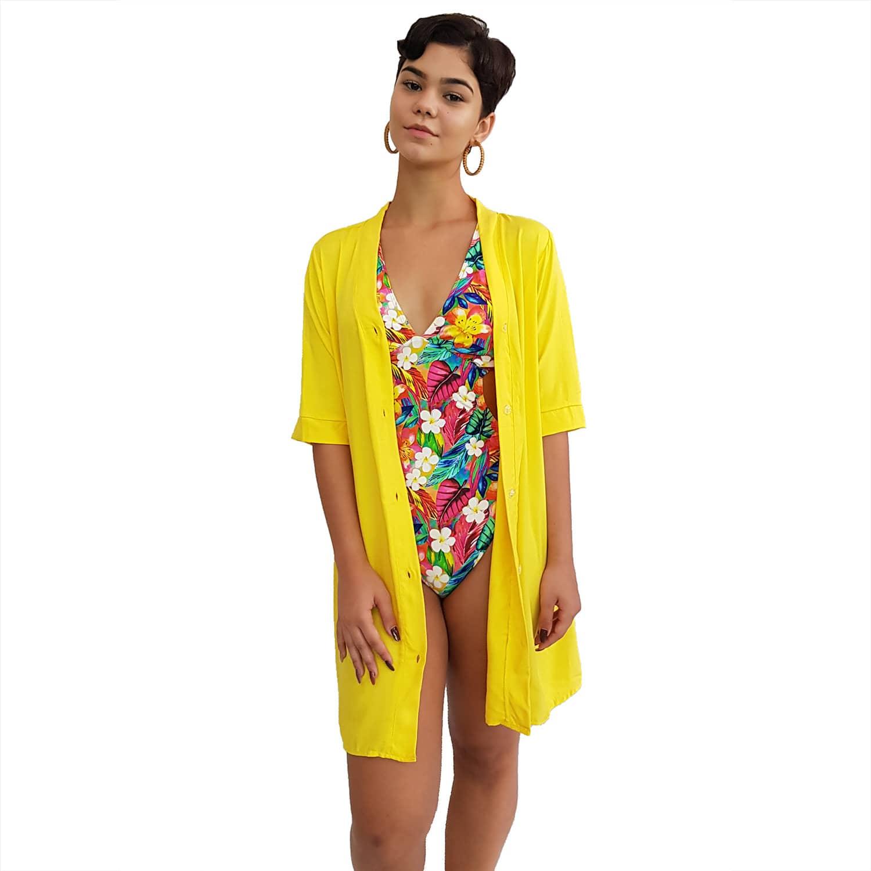 Vestido Chemise de Viscose Curta com Manga 3/4 e Botões Amarelo