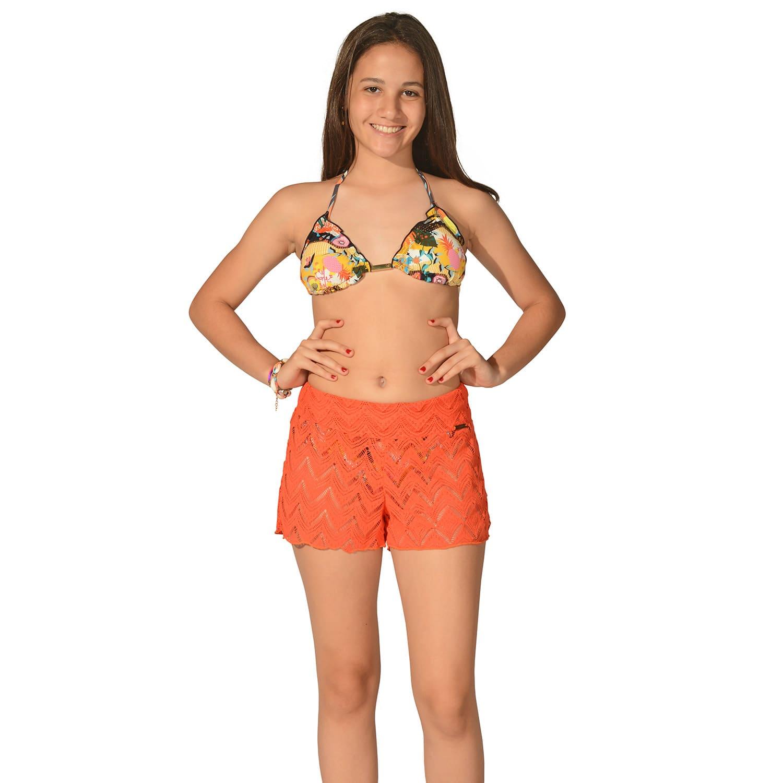 Short Teen Renda Laranja