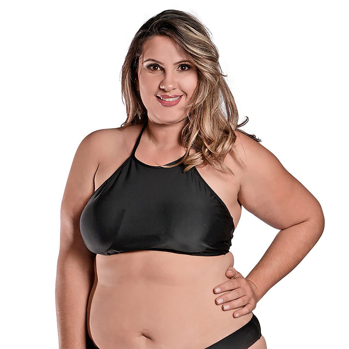 Top de Praia Plus Size Cropped Preto