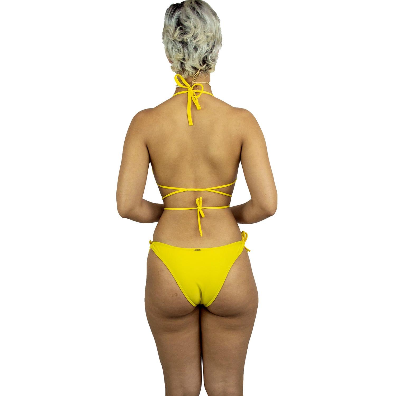 Top de Praia Cortininha com Bojo Remivível Amarelo