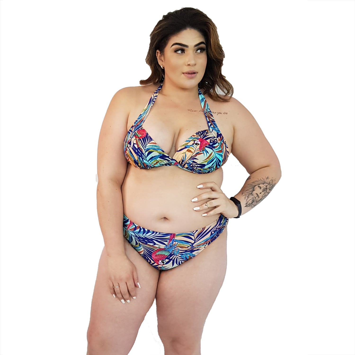 Top de Praia Plus Size Frente Única Bojo Arara Tropical