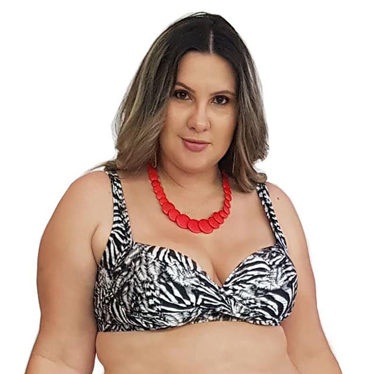 Top de Praia Plus Size Meia Taça com Bojo Zebra