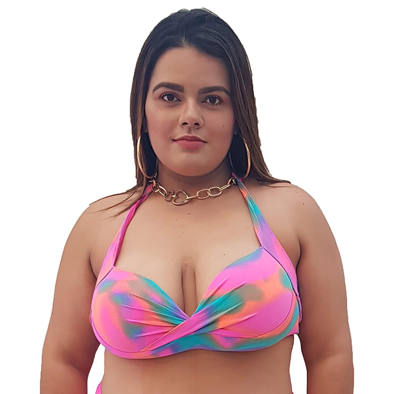 Top de Praia Plus Size Meia Taça Tie Dye