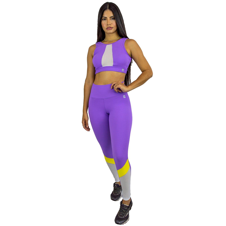 Top Fitness com Alça Larga Lilas Canelado