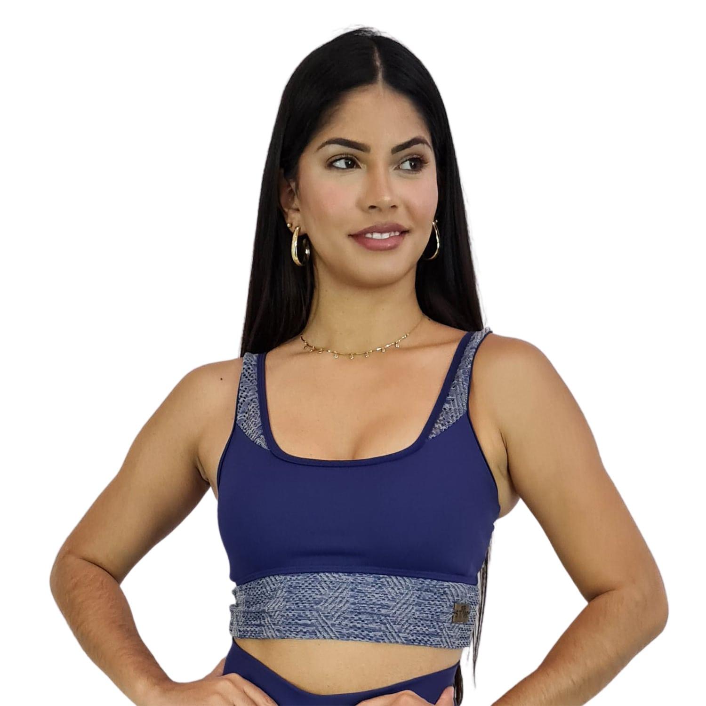 Top Fitness com Alça Larga New Zealand Azul Marinho Detalhe Renda