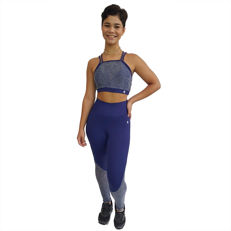 Top Fitness com Alças Finas Duplas New Zealand Azul Marinho e Renda