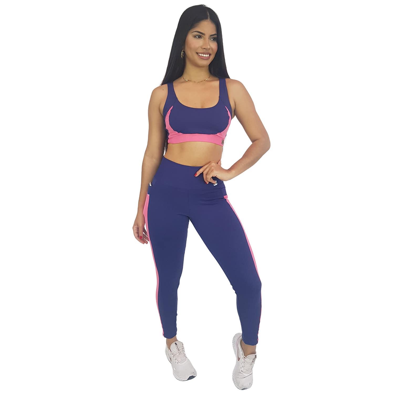 Top Fitness com Detalhe New Zealand Azul Marinho e Rosa