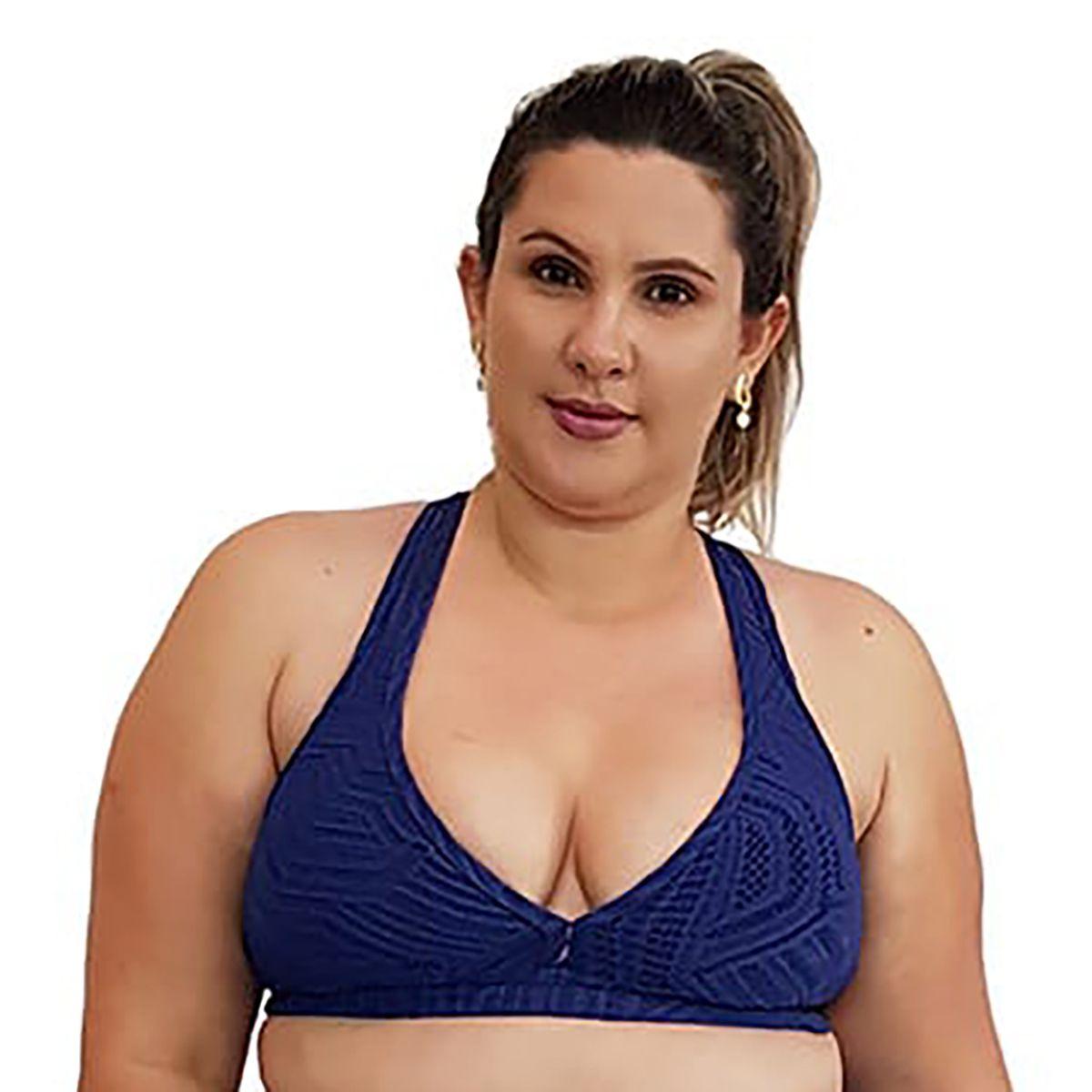 Top Fitness Plus Size Nadador Jacquard Azul Marinho