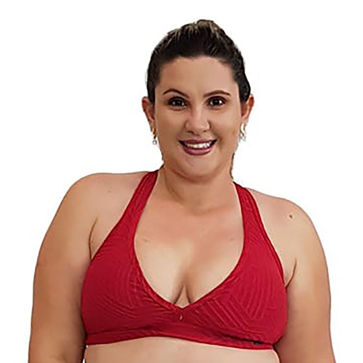 Top Fitness Plus Size Nadador Jacquard Vermelho