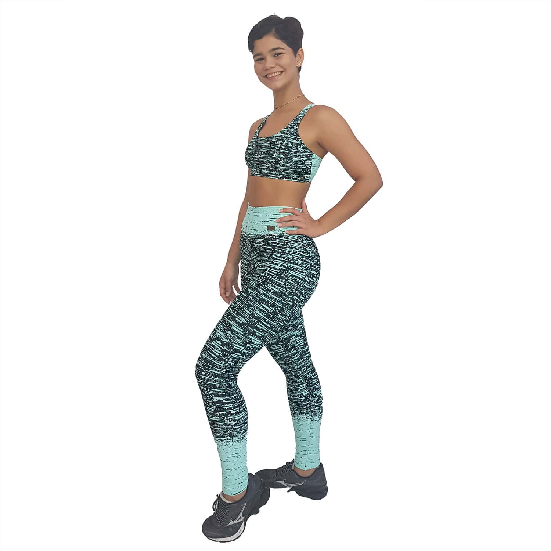 Top Fitness Tradicional Jacquard Chuvisco Verde