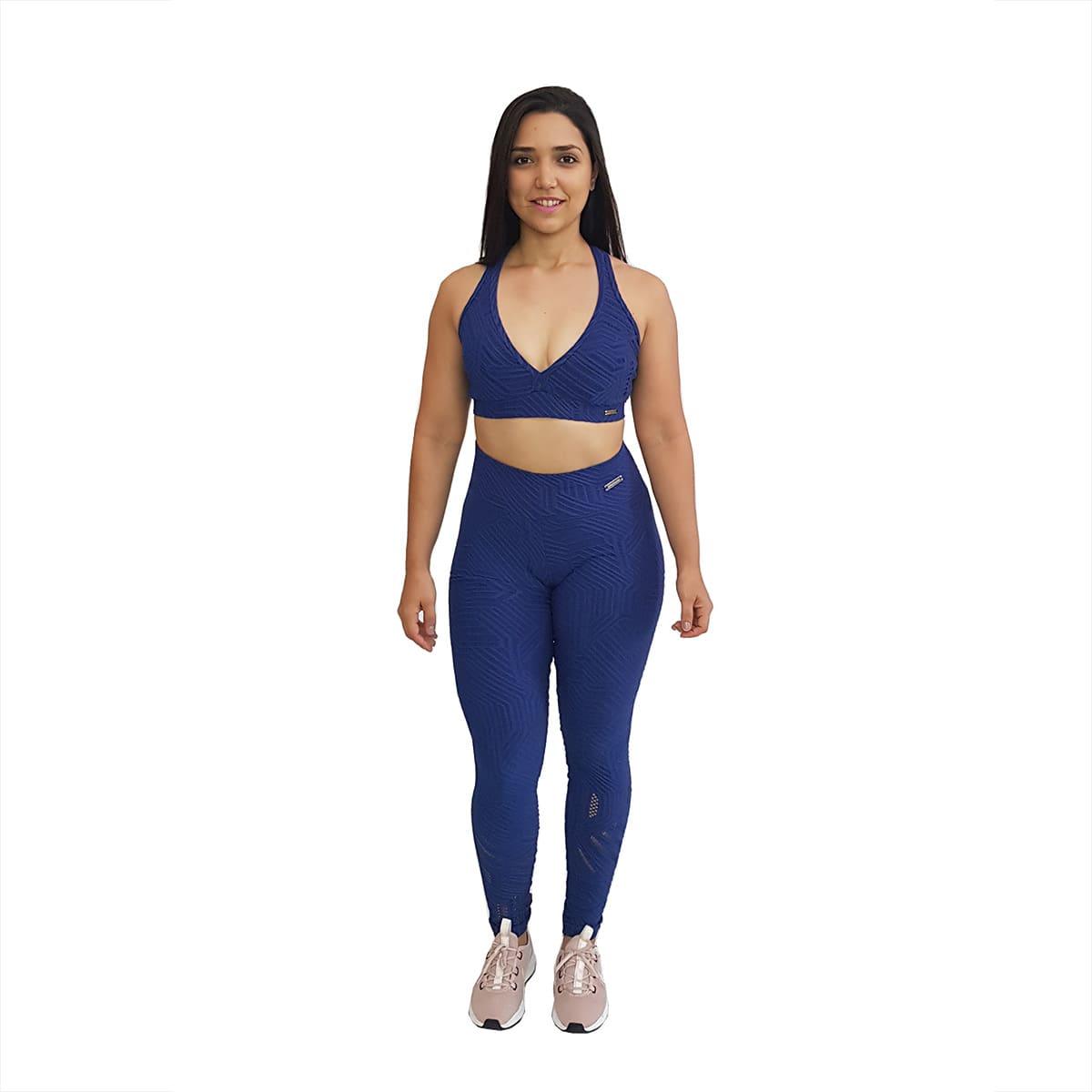 Top Jacquard Azul Marinho