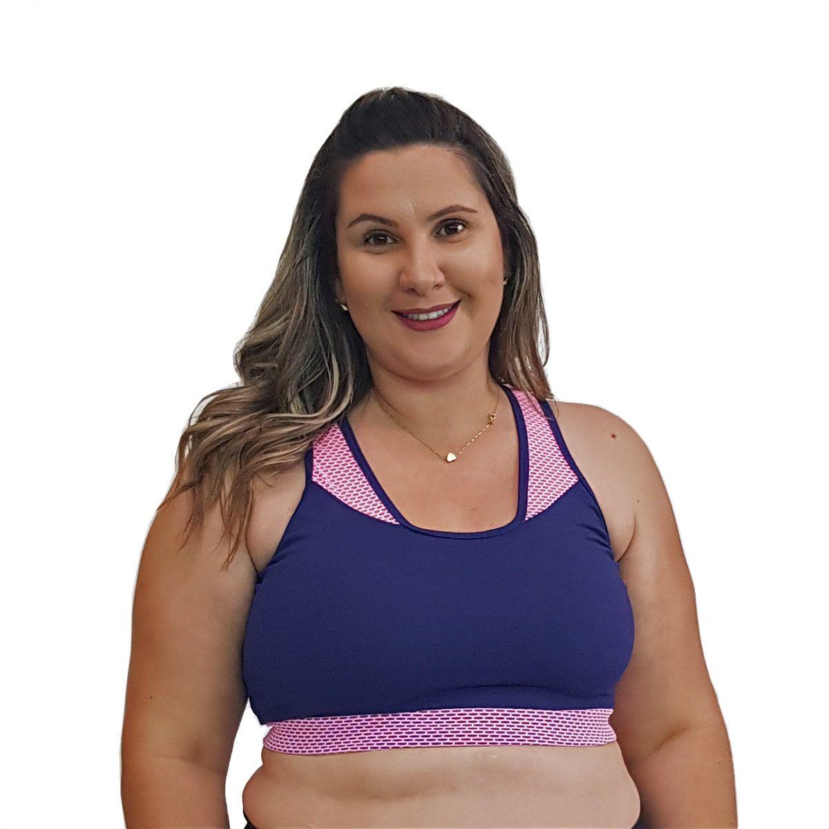 Top Fitness Plus Size com Detalhe em Tela nas Alças New Zealand Azul Marinho e Rosa