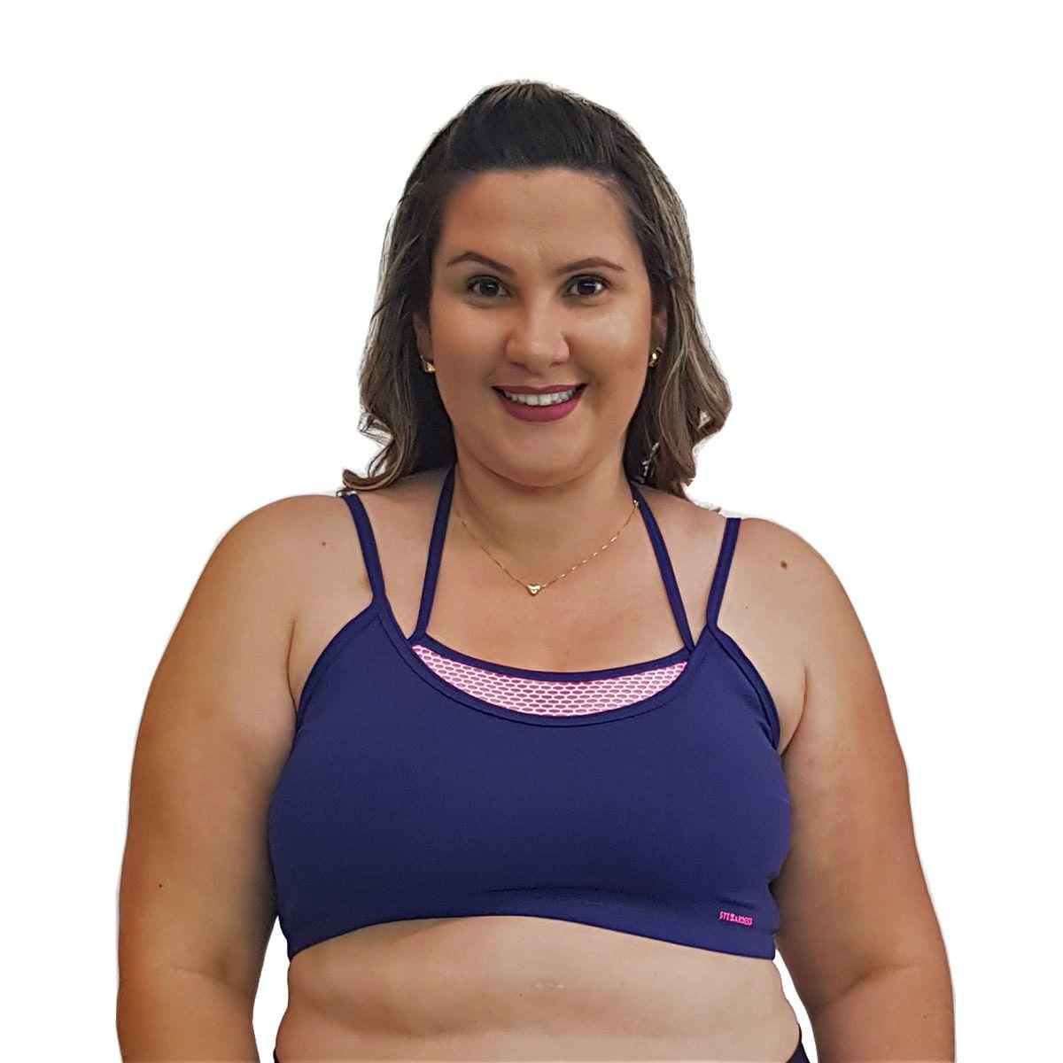 Top Fitness Plus Size com Alças Finas Duplas e Detalhe em Tela Azul Marinho e Rosa