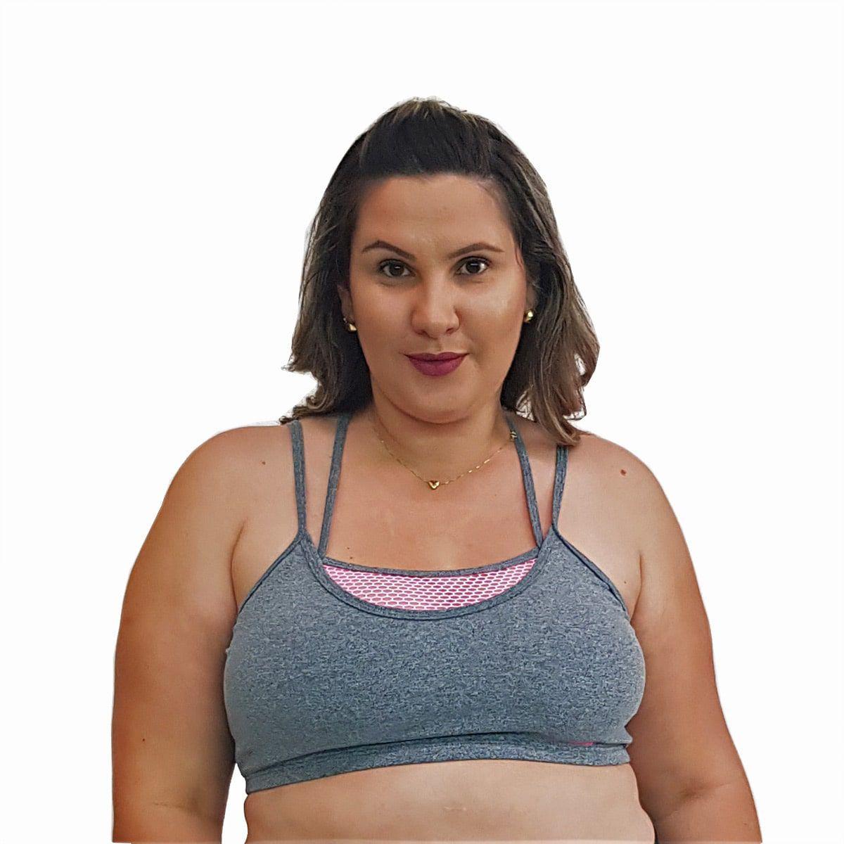 Top Fitness Plus Size com Alças Finas Duplas Cinza e Detalhe em Tela Rosa