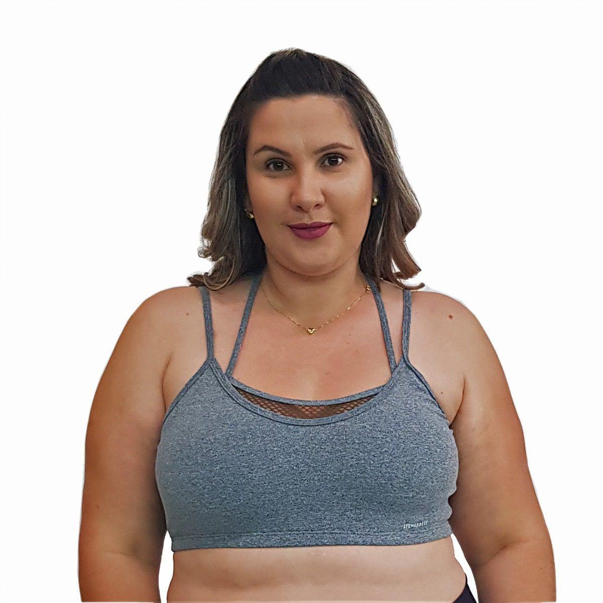 Top Fitness Plus Size com Alças Finas Duplas Cinza e Detalhe em Tela Verde Militar