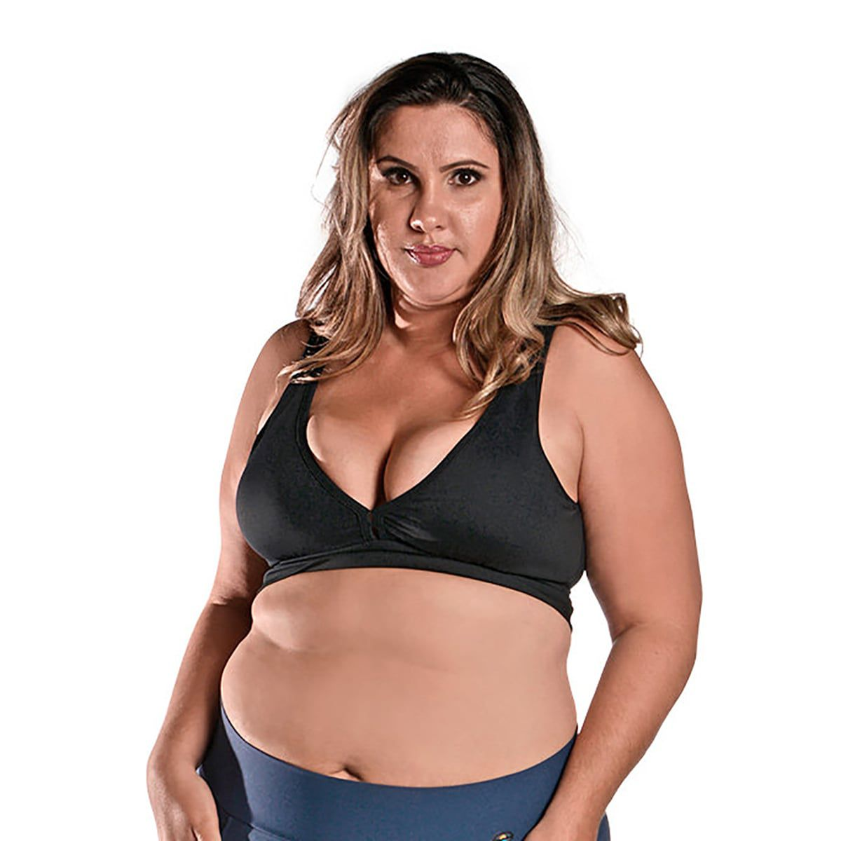 Top Fitness Plus Size com Bojo Removível New Zealand Preto