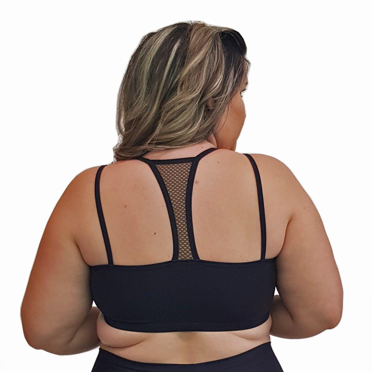 Top Fitness Plus Size com Alças Finas Duplas Preto e Detalhe em Tela Verde Militar