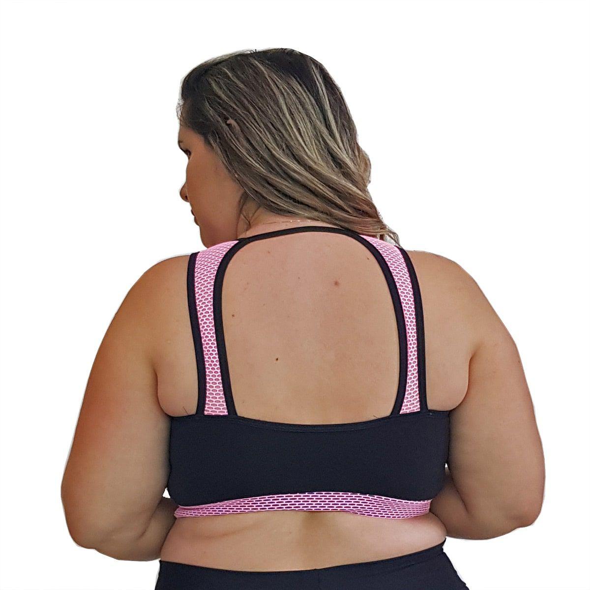 Top Fitness Plus Size em Suplex Preto com Detalhe em Tela Rosa Fluorescente nas Alças