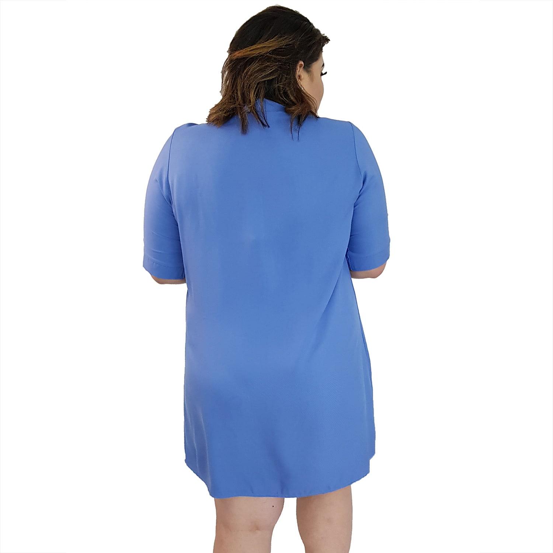 Vestido Chemise de Viscose Curta com Manga 3/4 e Botões Azul Claro