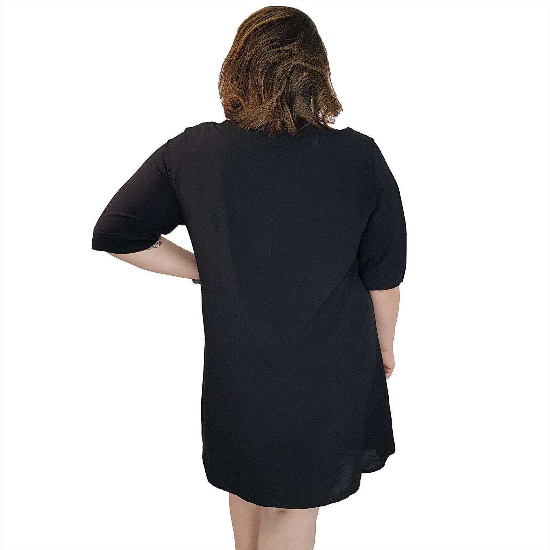 Vestido Chemise de Viscose Curta com Manga 3/4 e Botões Preto