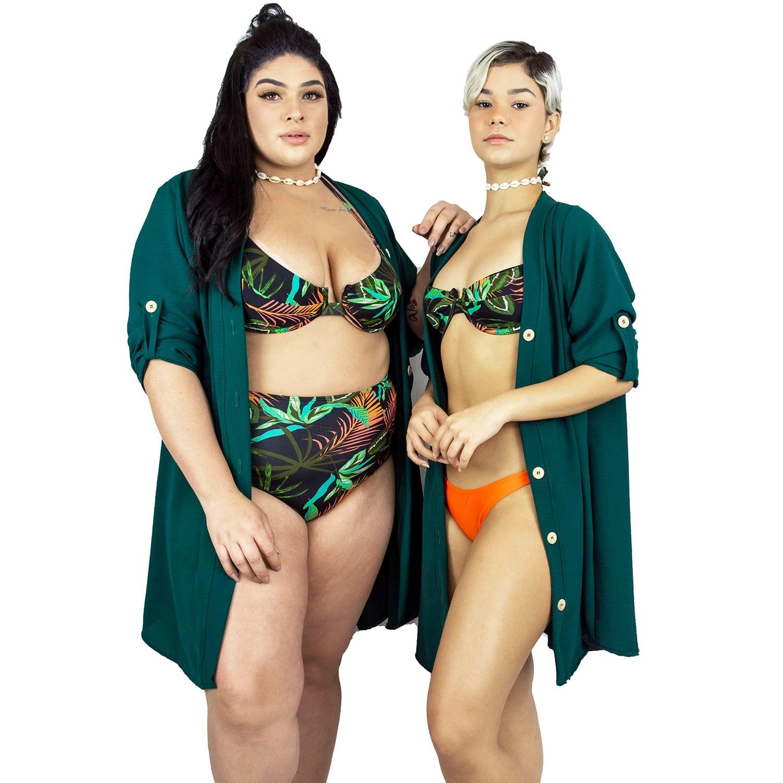 Vestido Chemise de Viscose Curta com Manga 3/4 e Botões Verde Musgo