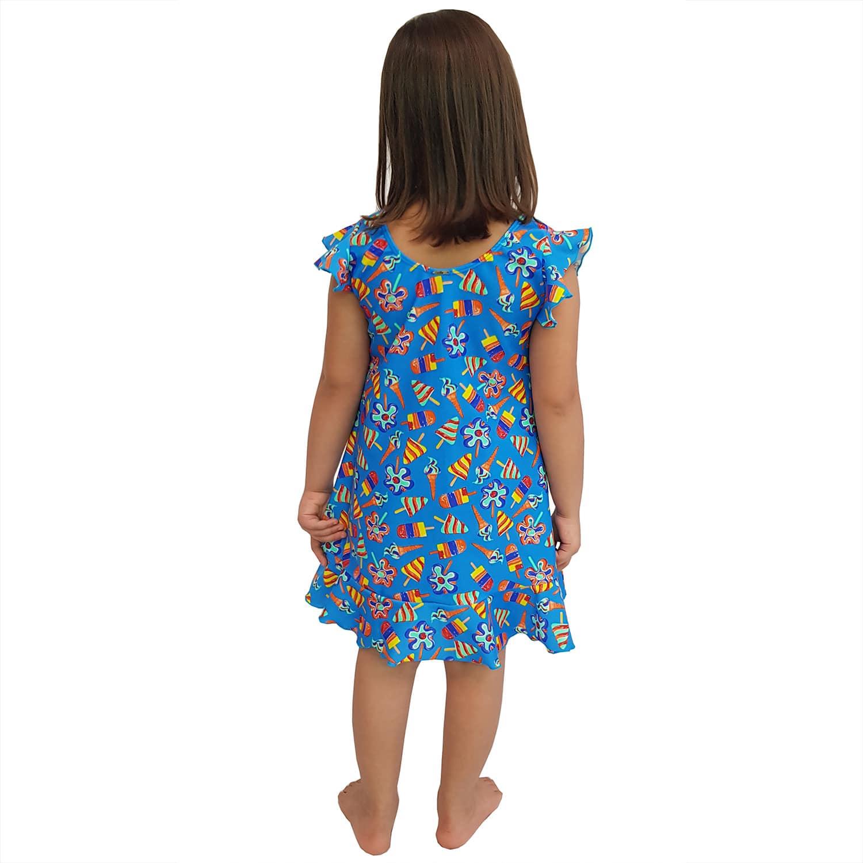 Vestido Infantil de Lycra Sorvete Azul