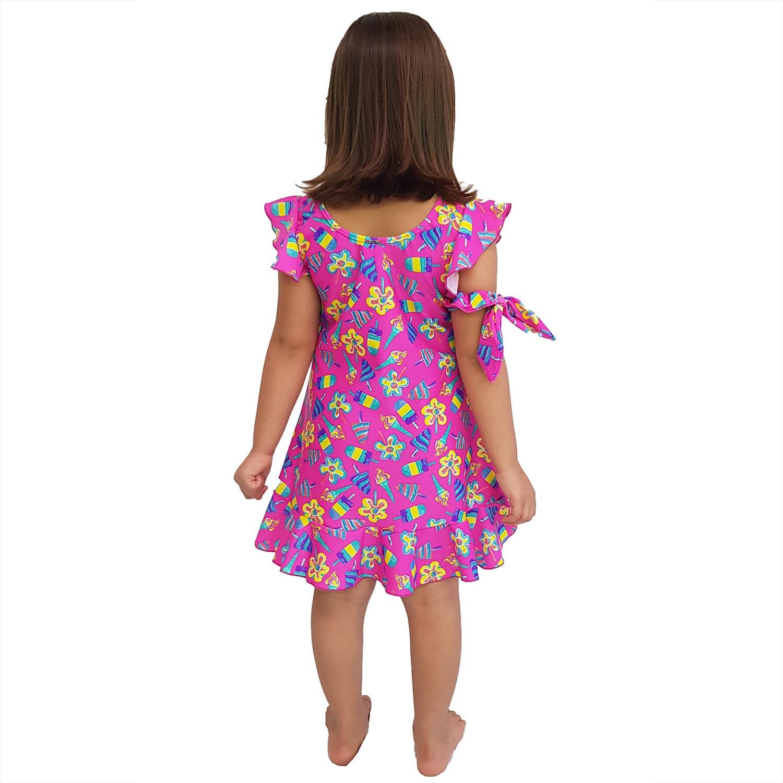 Vestido Infantil de Lycra Sorvete Rosa