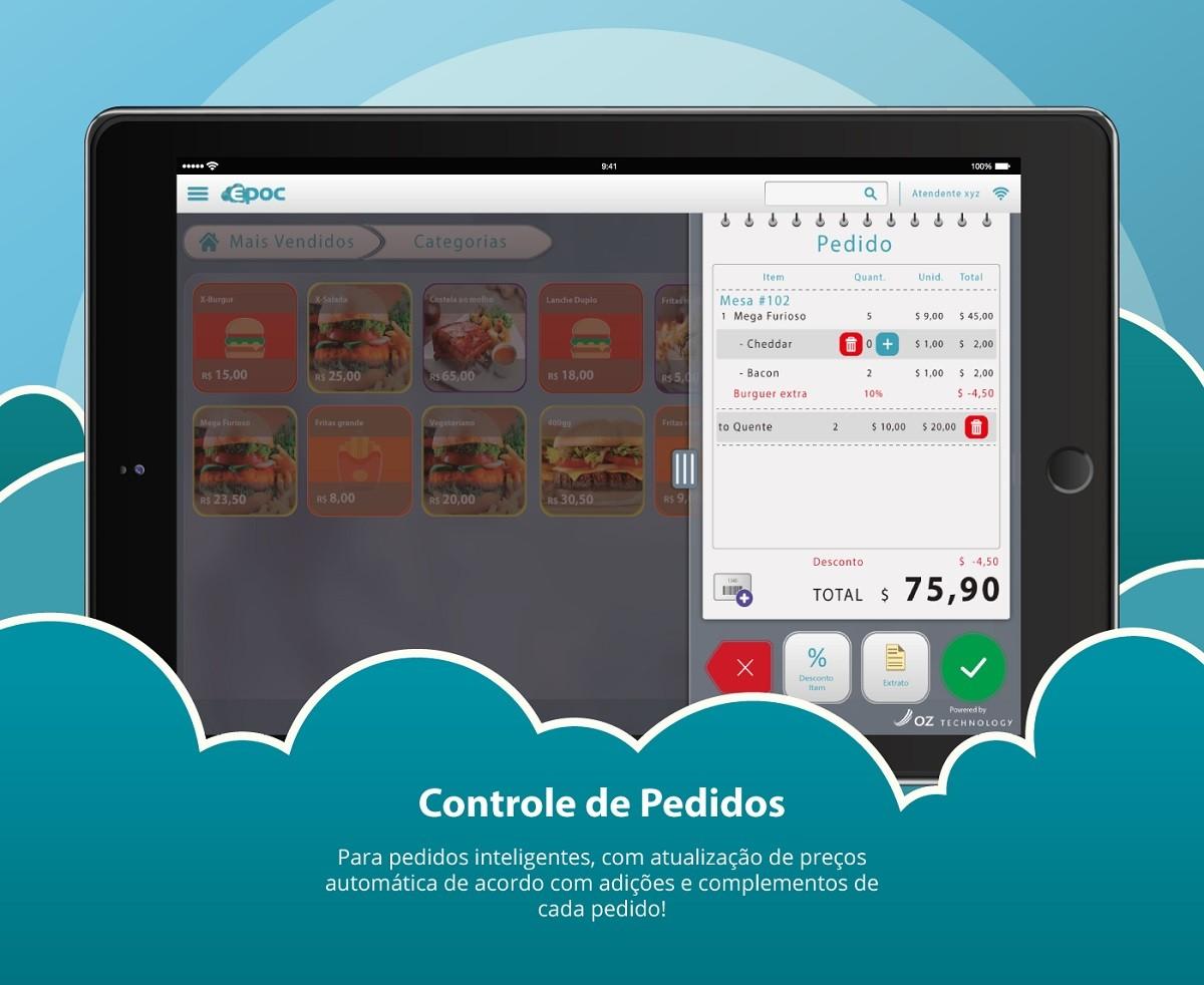 Software Para Bares e Restaurantes EPOC Cloud - Emissão do Cupom Fiscal Eletrônico + SAT Dimep 2.0 + PC Touch + Impressora Epson T20 Ethernet