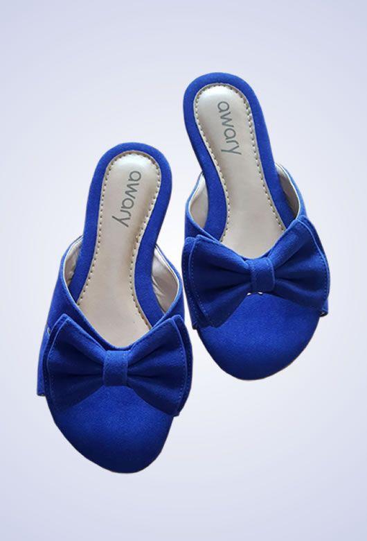Rasteira Awary  Suede Azul Royal