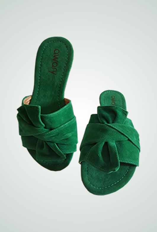 Rasteira Awary Suede Verde