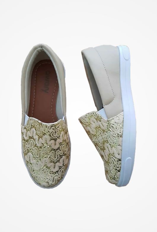 Slip On Awary  Bege com Renda