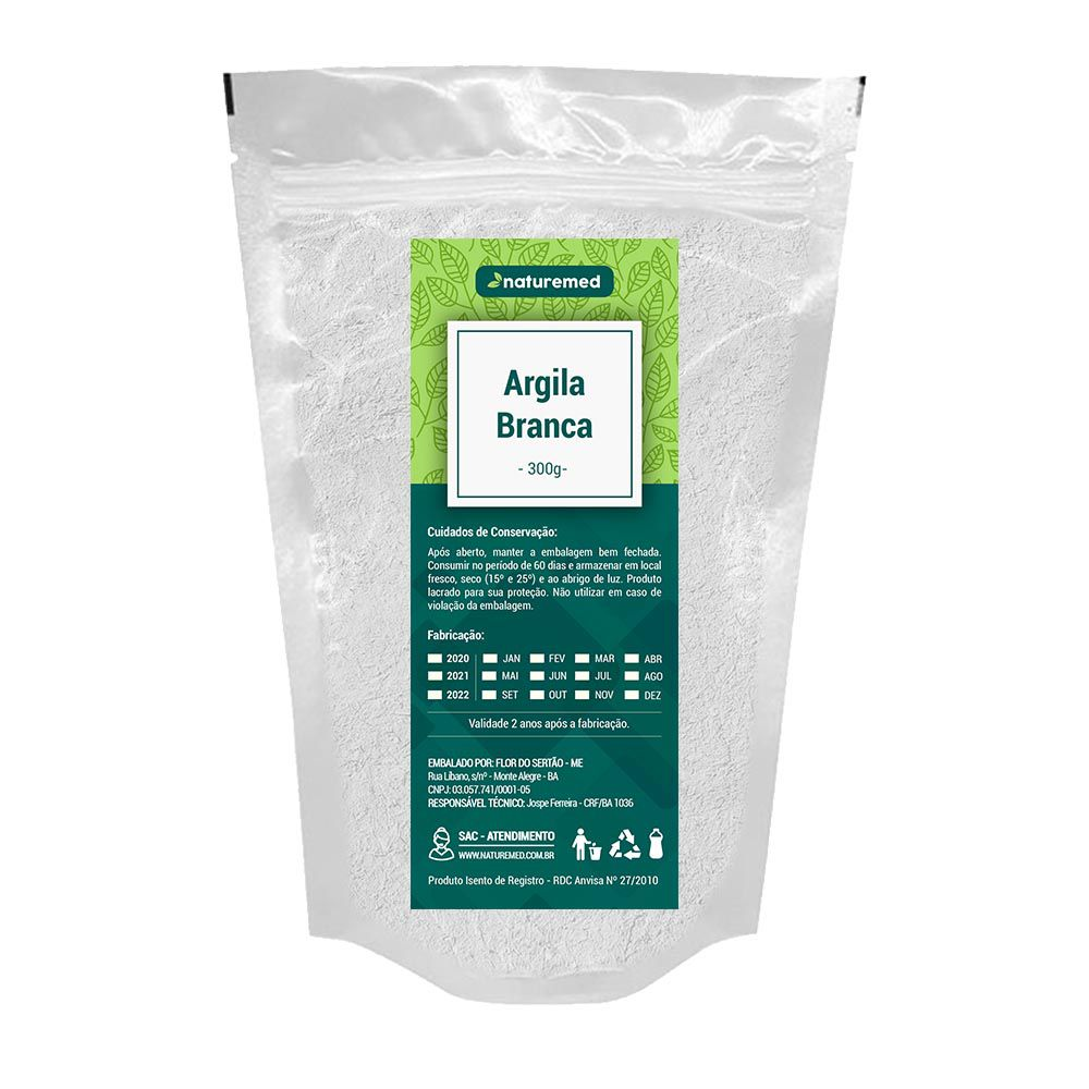 Argila Branca - 300g - Naturemed