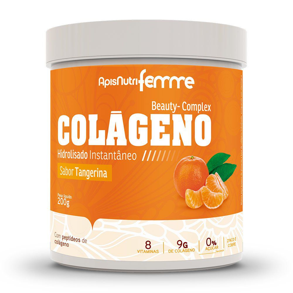 Colágeno Hidrolisado - Sabor Tangerina - 200g - Apisnutri