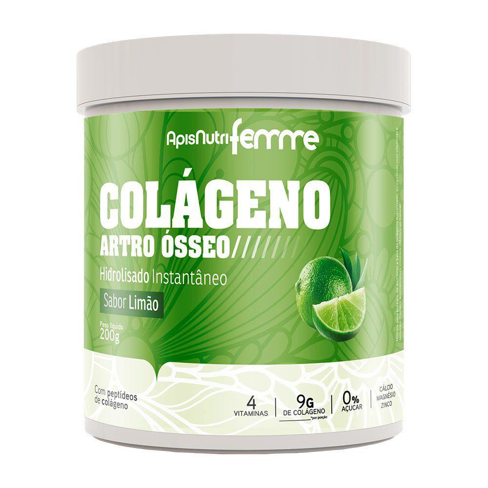 Colágeno Hidrolisado - Sabor Limão - 200g - Apisnutri