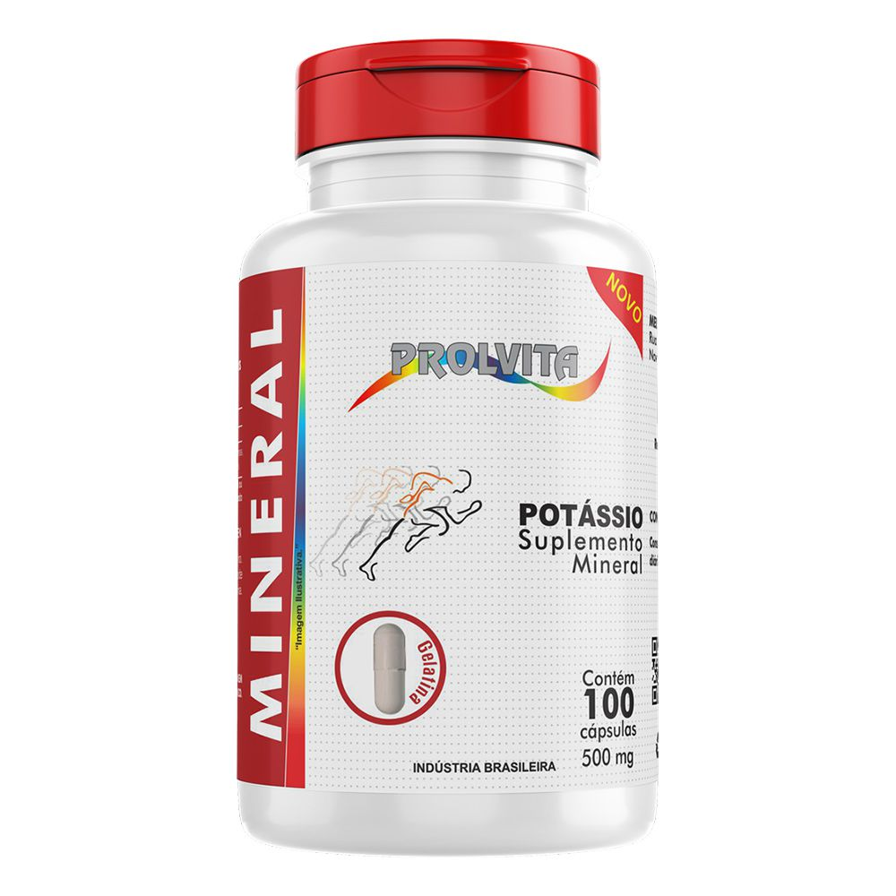 Potássio - Suplemento Mineral - 100 cáps - 500mg