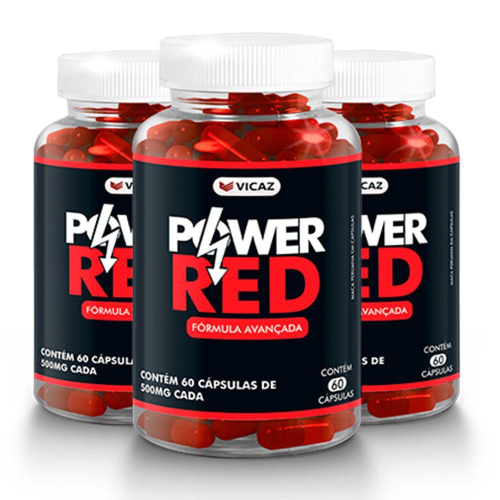 Power Red - Promoção 3 Unidades  de 60 Cápsulas - VICAZ