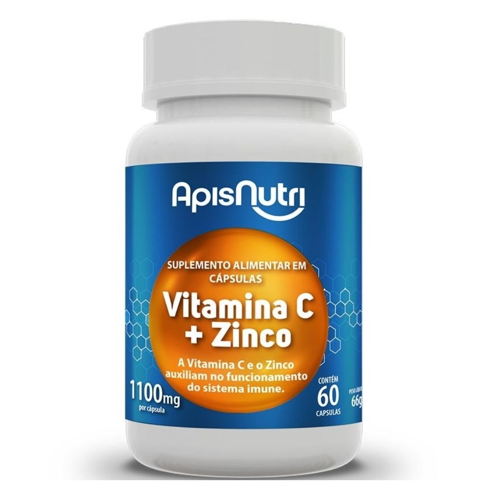 Vitamina C e Zinco - 60 Cápsulas- Apisnutri