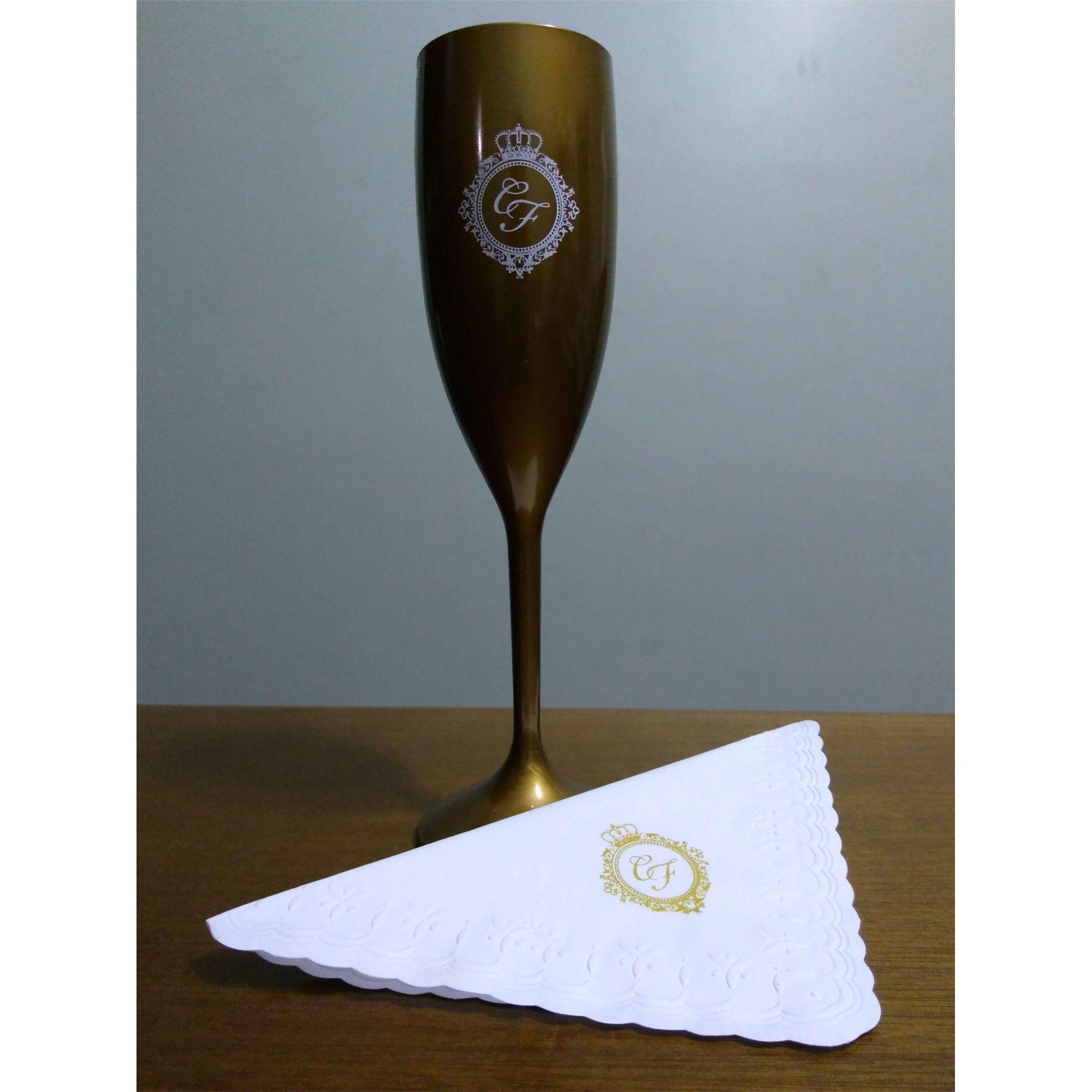 Kit taça  + guardanapo 15x15cm personalizados  - 50 unidades  - Persona Guardanapos & Cia