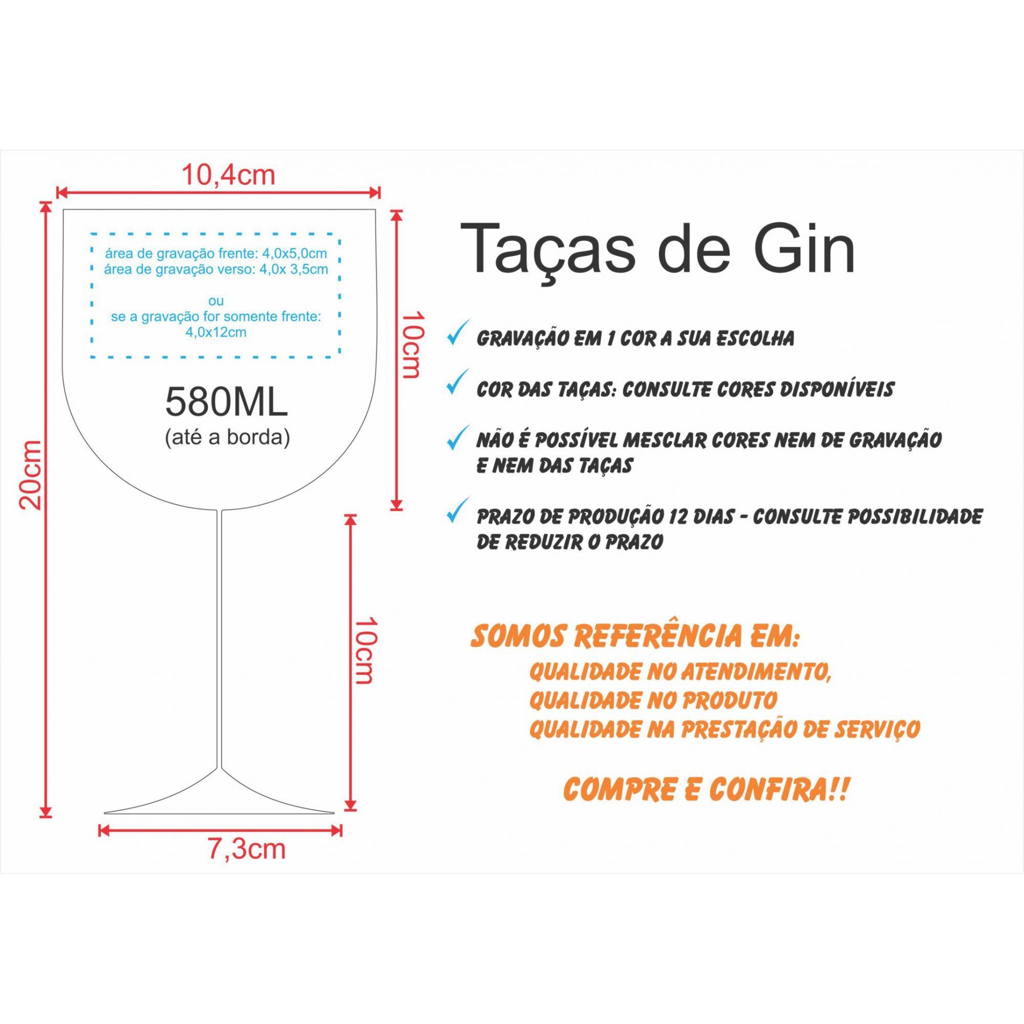 Taça Gin acrílico 580ml  personalizada - 50 unidades FRETE GRÁTIS OU COM DESCONTO!!  - Persona Guardanapos & Cia