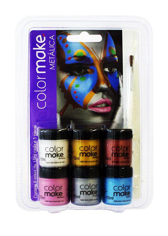 Cartela de Tinta Facial Líquida 6 cores metálicas
