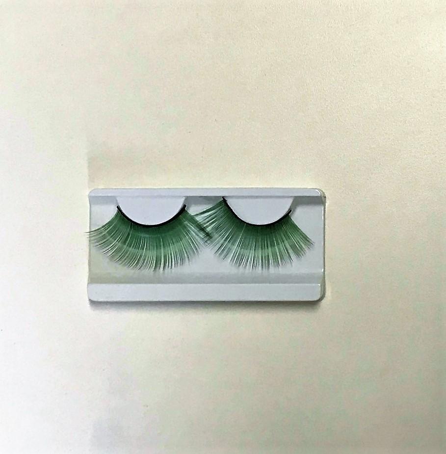 Cílios Postiços Artístico Cor Verde Longo