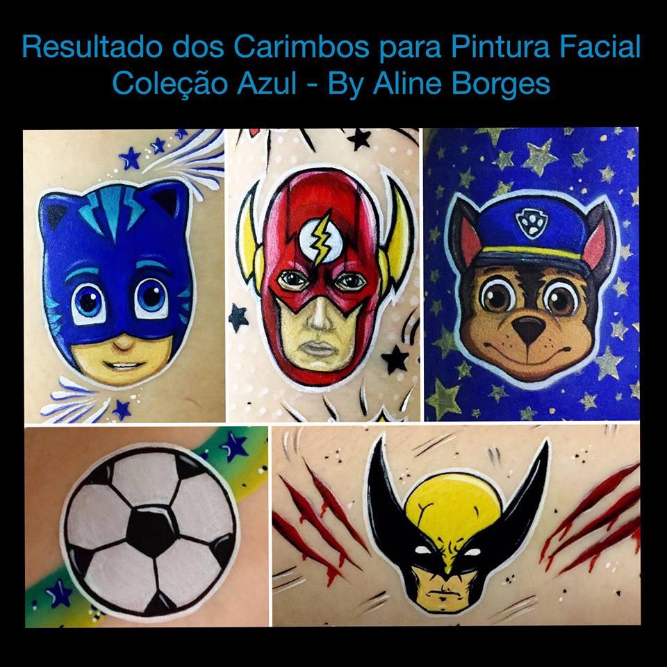 Combo promocional de Kit de carimbos p/ pintura facial Coleções: Azul e Rosa