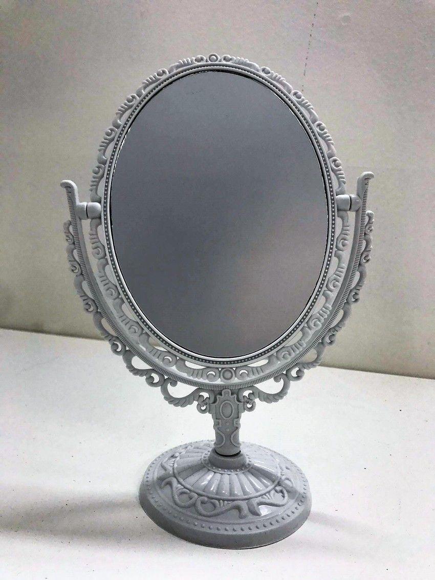 Espelho Oval de Mesa Estilo Provençal (Branco)