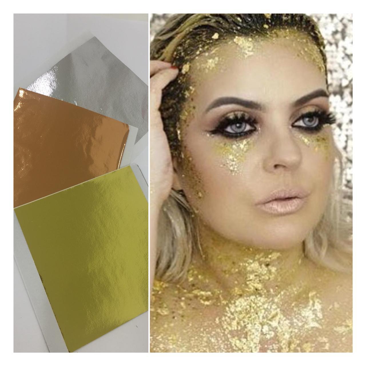 Folha Metalizada (folha de ouro) Pacote Com 10 Folhas 14x14 Cm