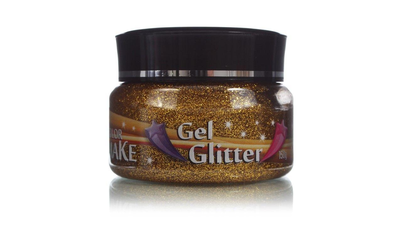 Gel Glitter Para Cabelo Dourado 150g Colormake