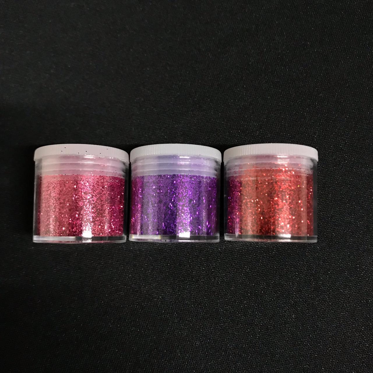 kit Boca Glitter 3 potes Contendo 6g (cada)  nas Cores Rosa, Roxo e Vermelho