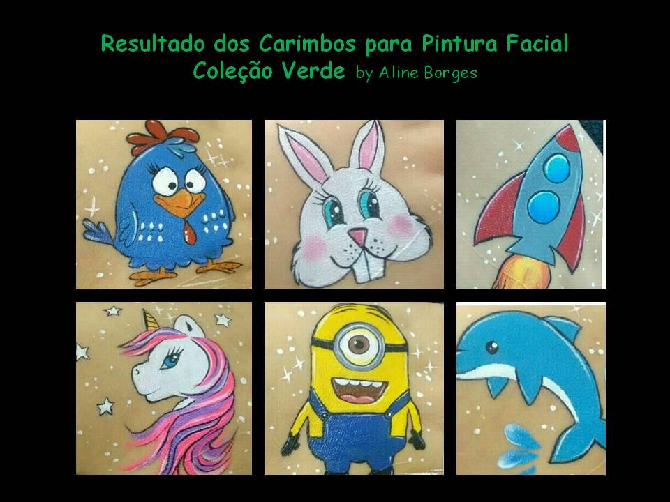 Kit de Carimbos p/ pintura facial Coleção Verde