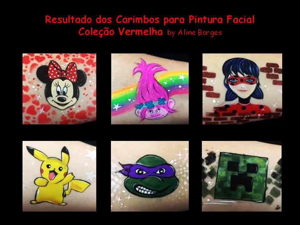 Kit de carimbos p/ pintura facial Coleção vermelha